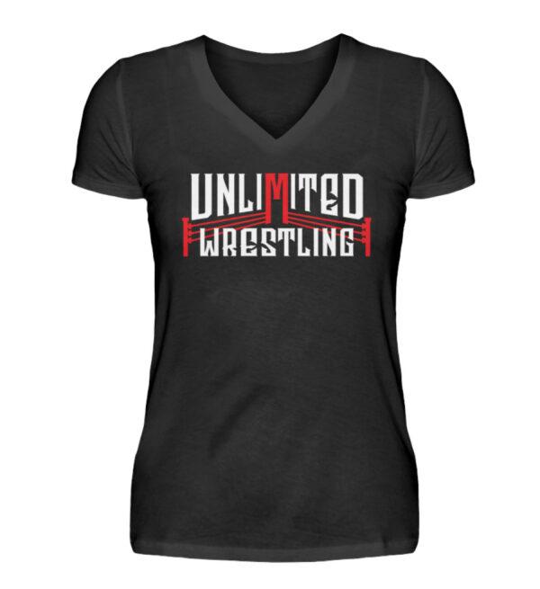 Unlimited Wrestling Logo Girlie V-Neck - V-Neck Damenshirt-16