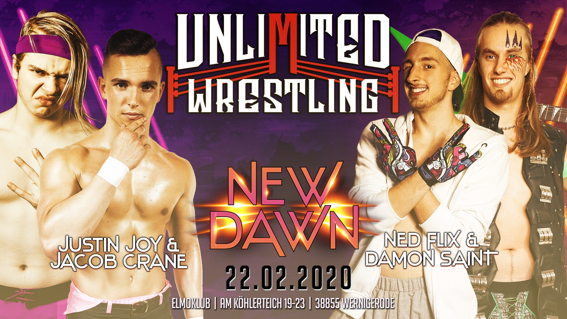 Unlimited Tag Team TurnierJustin Joy & Jacob Crane vs. Ned Flix & Damon Saint