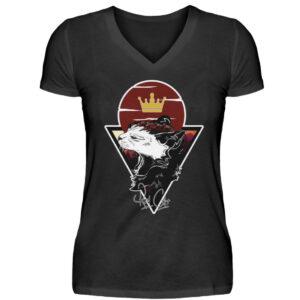 Red Cat Logo Girlie Vneck - V-Neck Damenshirt-16