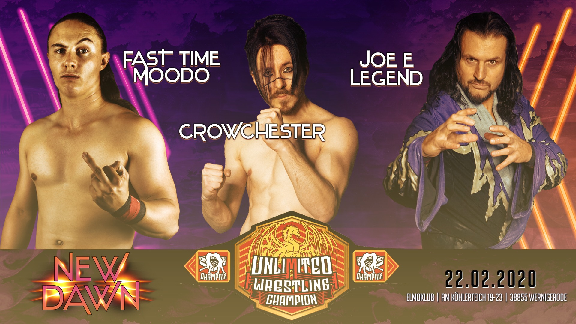 Unlimited Championship Triple Threat MatchFast Time Moodo vs. Joe E Legend vs. Crowchester
